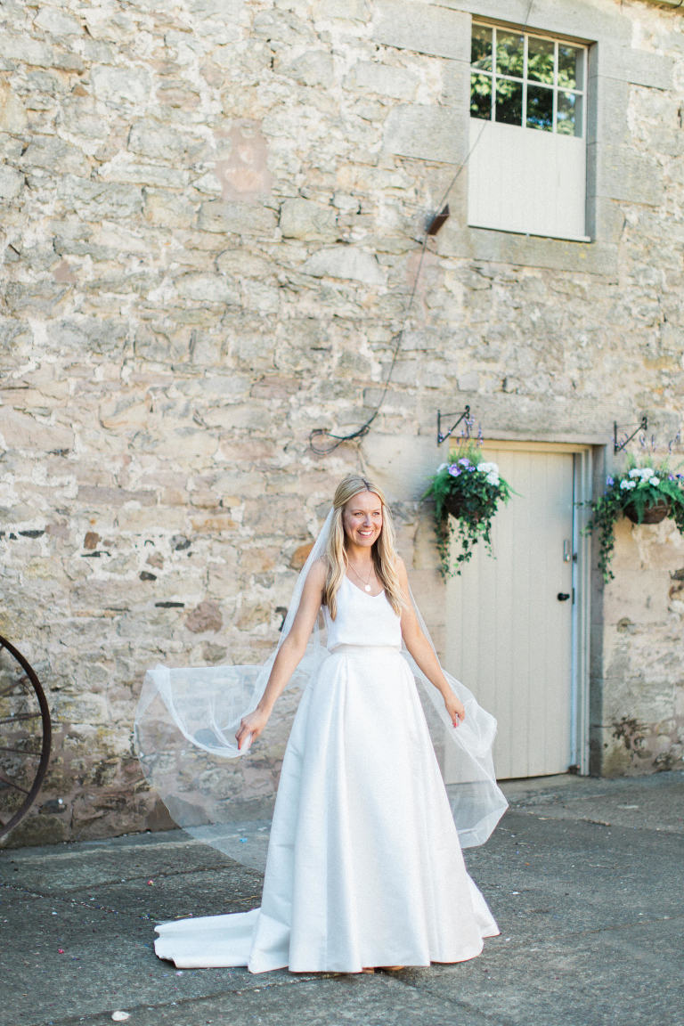 Image of a beautiful bride in Charlie Brear gown Doxford Barns wedding photography